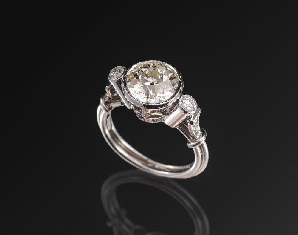PLATINUM 2.85CT OLD EURO DIAMOND RING sz 6.5 8 gr