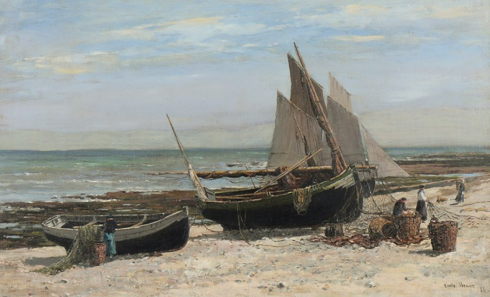 EMILE VERNIER FRENCH SEASIDE WITH BOATS PAINTING