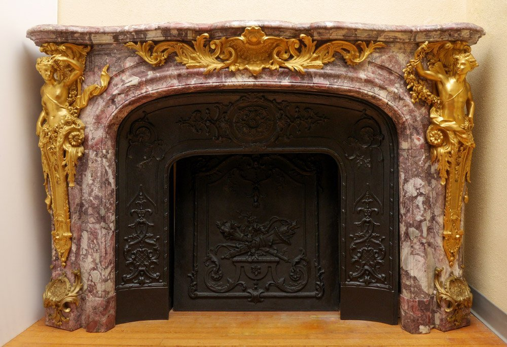 FRENCH MARBLE AND GILT ORMOLU FIREPLACE MANTLE