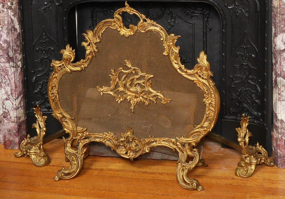 GILT BRONZE ROCOCO FIRE SCREEN AND ANDIRONS