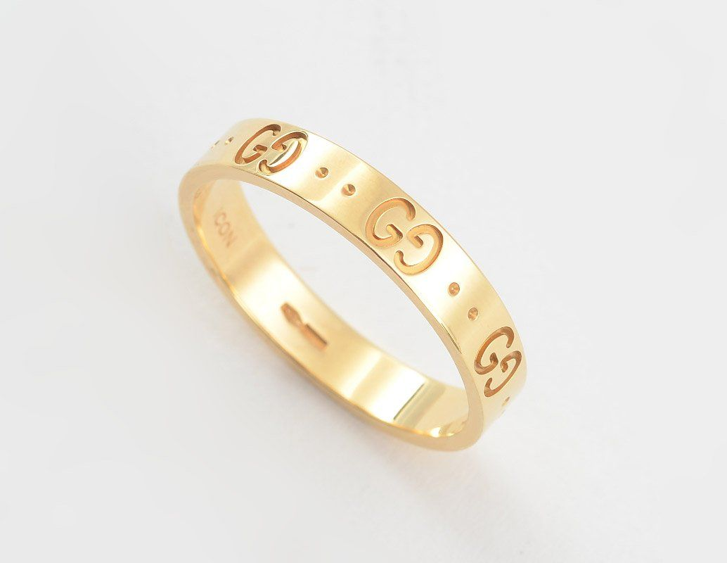 GUCCI 18K GOLD ICON RING BAND SZ 10