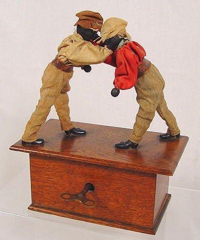 1001: IVES KEYWIND CLOCKWORK BOXERS CA. 1870'S