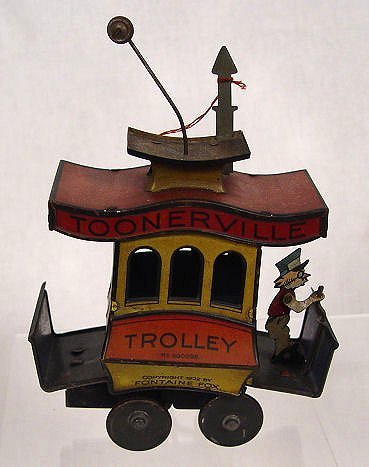 1003: FONTAINE FOX TOONERVILLE TROLLEY TIN WIND UP TOY