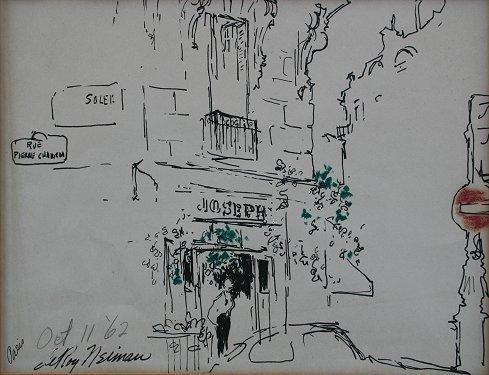 1009: LEROY NEIMAN ORIGINAL PEN AND INK JOSEPH'S PARIS
