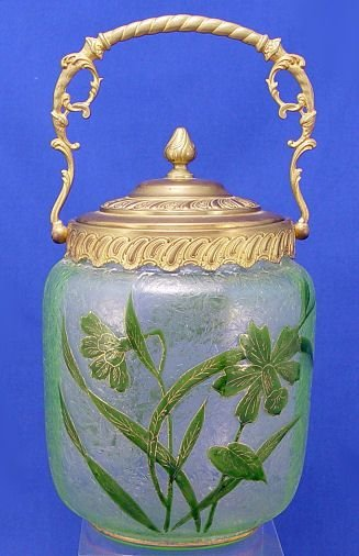 1016A: FRENCH ENAMELED MONT JOYE ART GLASS BISCUIT JAR
