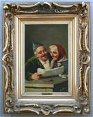 19TH C EUROPEAN PAINTING OF ELDERLY COUPLE