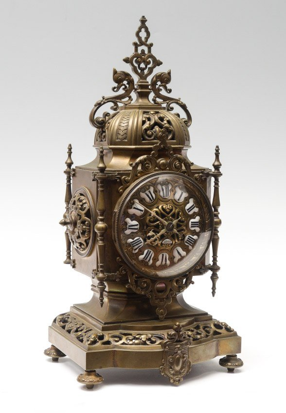 TIFFANY & CO. BRONZE MANTLE CLOCK