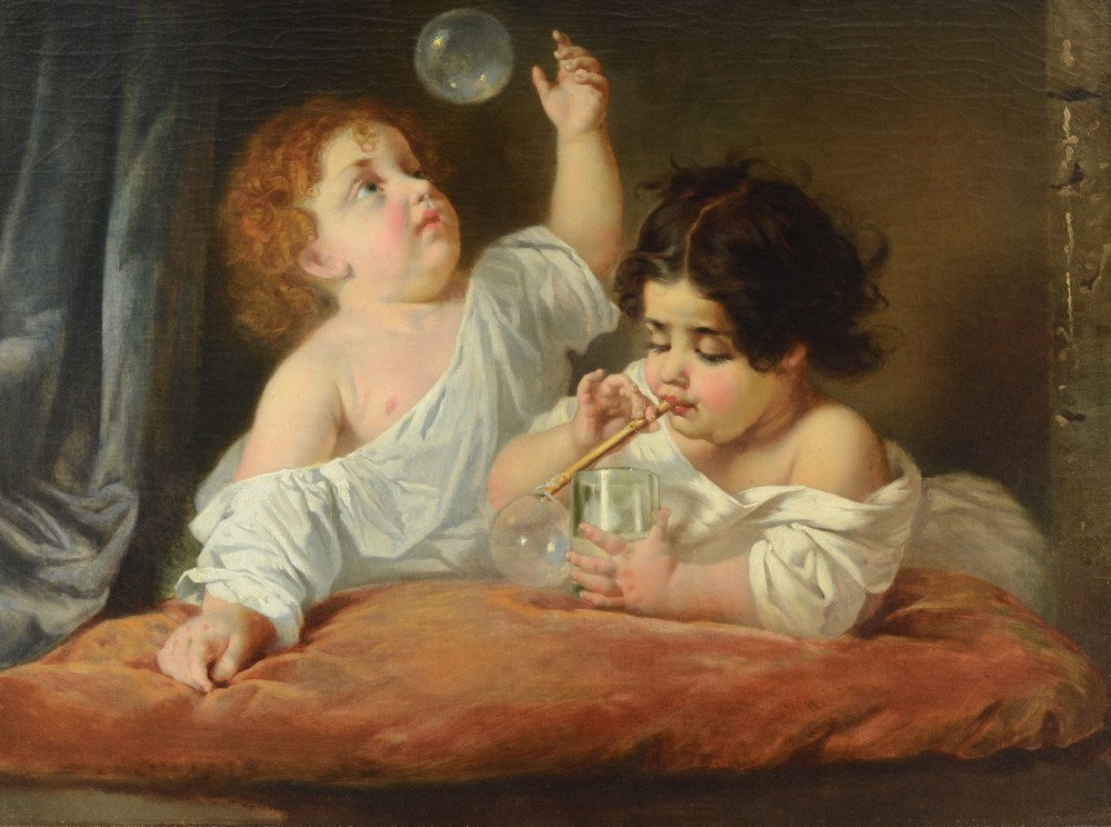 EXCEPTIONAL 19TH CENTURY PAINTING BUBBLE BLOWERS