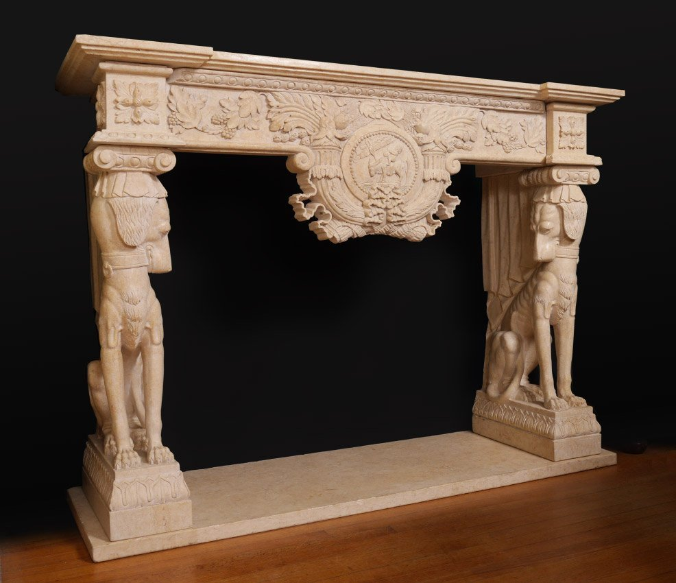 FIGURAL DOG EGYPTIAN REVIVAL MARBLE FIREPLACE SURROUND