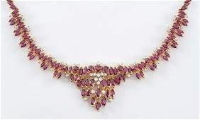5162 CTW RUBY NECKLACE W DIAMONDS 18K GOLD