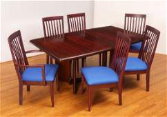 DANISH MODERN DINING TABLE & 6 CHAIRS