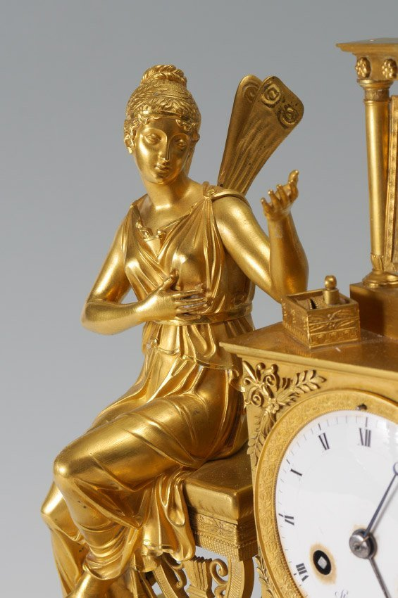 FRENCH STIENNON A PARIS GILT FIGURAL CLOCK