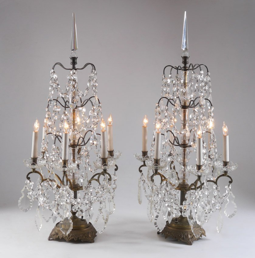 PAIR BACCARAT QUALITY TABLE CHANDELIERS