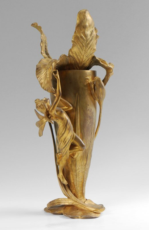 FRENCH ART NOUVEAU MAIDEN VASE LOYS POTET