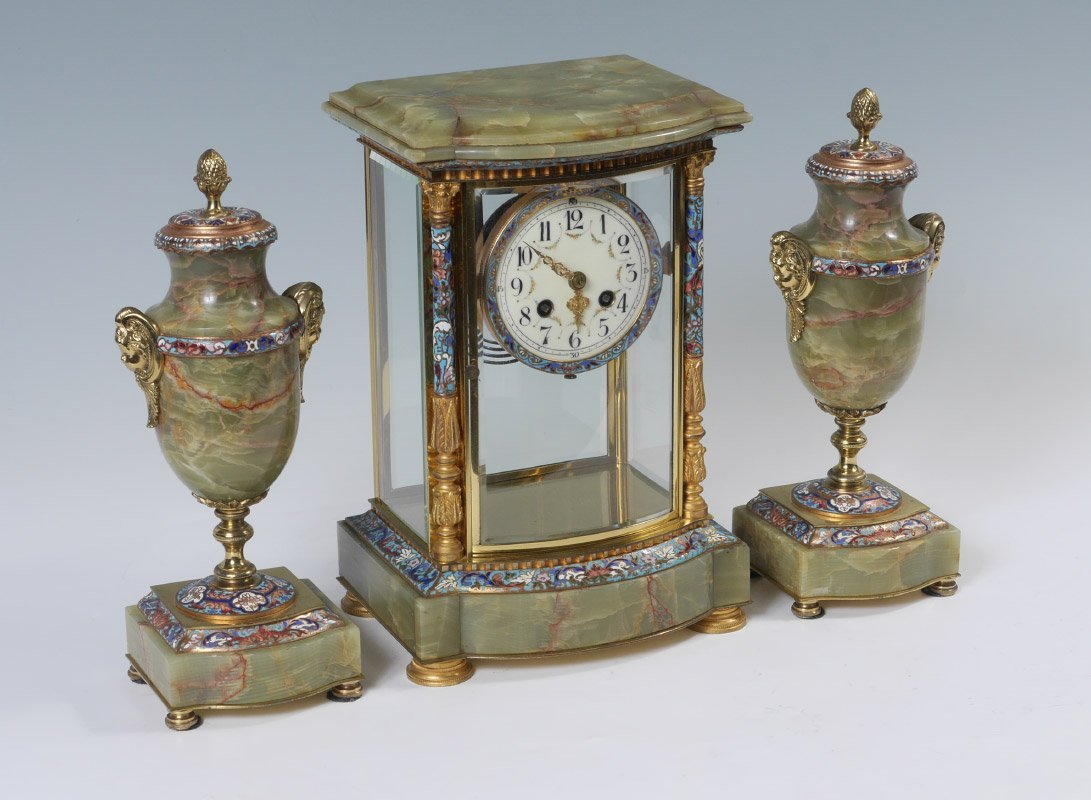 FRENCH ONYX CRYSTAL REGULATOR CLOCK GARNITURE SET
