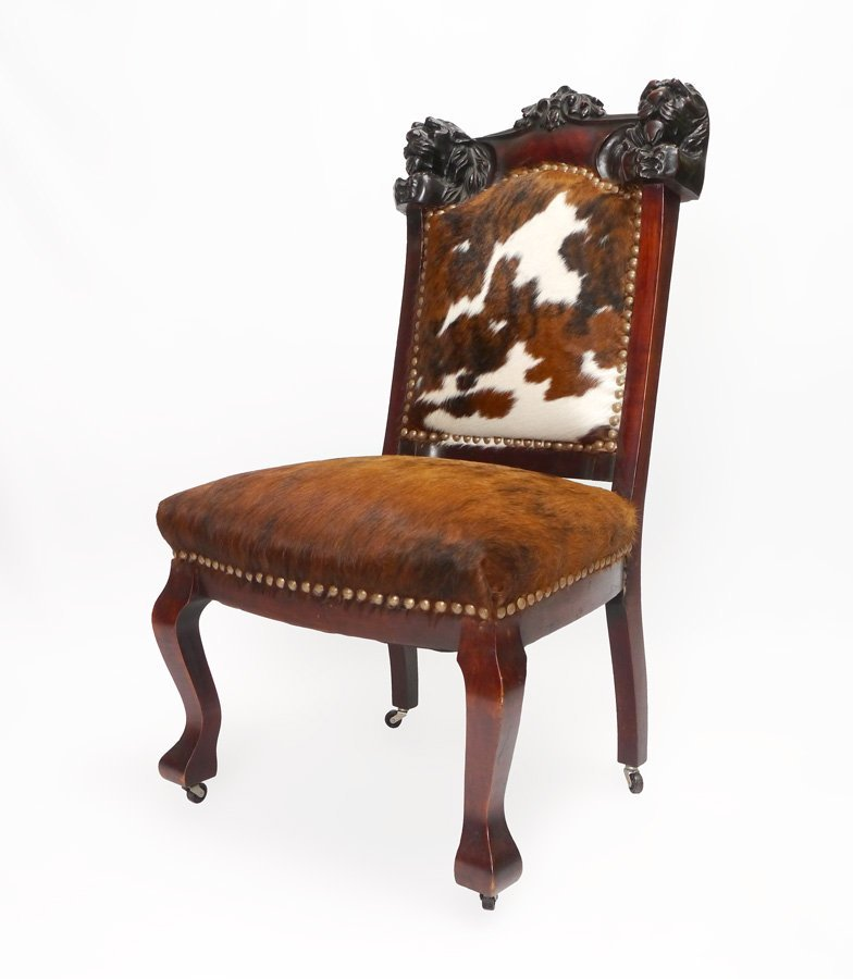 LION CARVED MAHOGANY SIDE CHAIR COW HIDE
