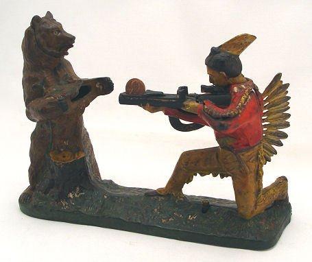 2: INDIAN SHOOTING BEAR STEVENS IRON MECHANICAL BANK
