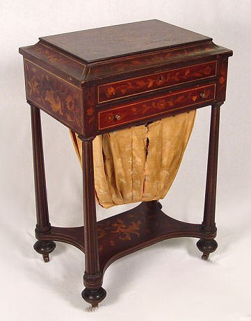 12: ANTIQUE DUTCH MARQUETRY INLAID SEWING STAND