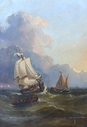 14: DUTCH 19th CENTURY O/PANEL SHIP SCENE