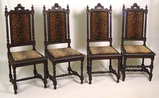 16: SET OF 4 GOTHIC OAK SIDE CHAIRS