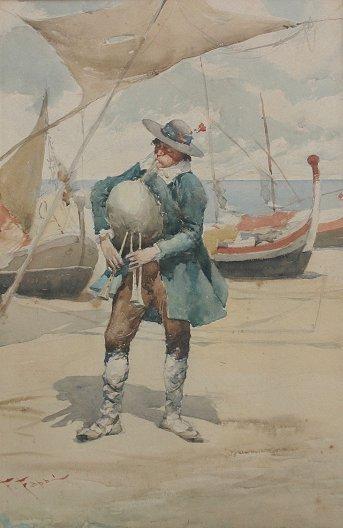 24: F. FABBI ITALIAN WATERCOLOR PAINTING BAGPIPER
