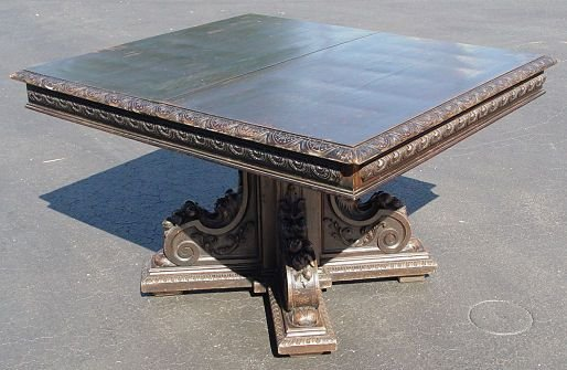 26: CARVED OAK TAVERN TABLE