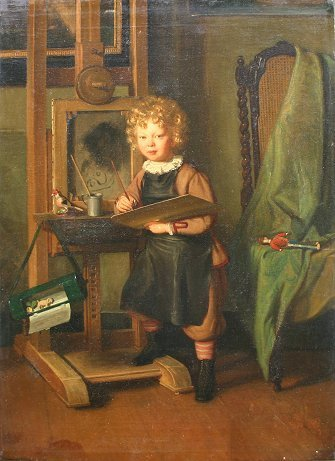 35: GOOD 19th C. GENRE PAINTING BY MAYER?