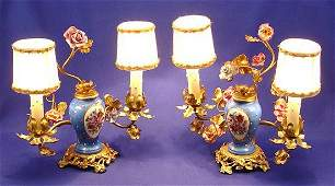 38 PR PETITE FRENCH BRONZE  PORCELAIN VANITY LAMPS