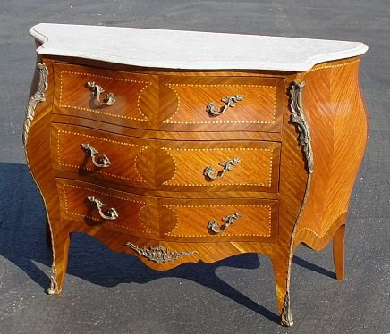 18: LOUIS XV STYLE MARBLE TOP BOMBE COMMODE