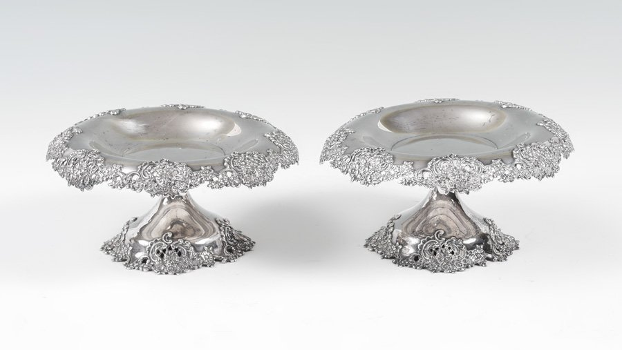 PAIR TIFFANY & CO. STERLING RETICULATED COMPOTES