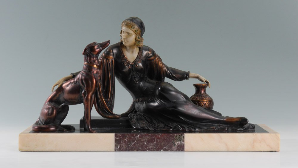 ART DECO SCULPTURE W/WOMAN AND HOUND
