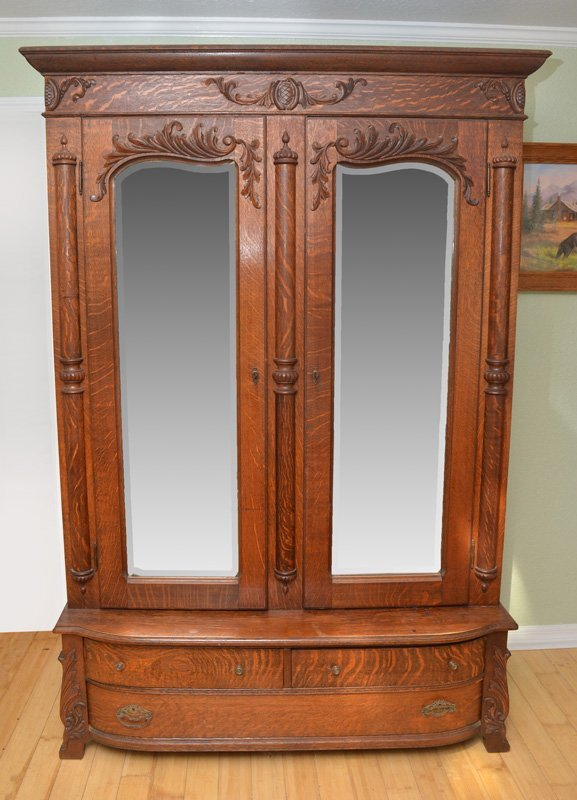 ANTIQUE OAK ARMOIRE MIRROR FRONT