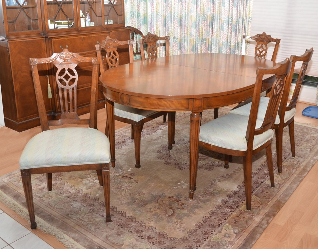 KAPLAN BEACON HILL DINING TABLE W/ 6 CHAIRS