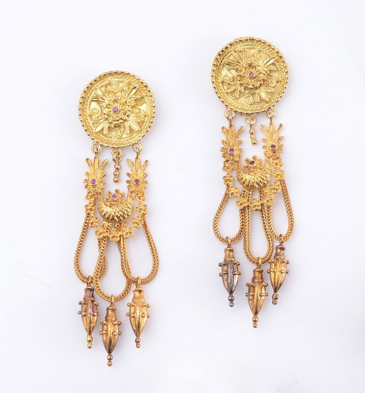 "18k GOLD EARRINGS 3"" LONG 33 GRAMS"