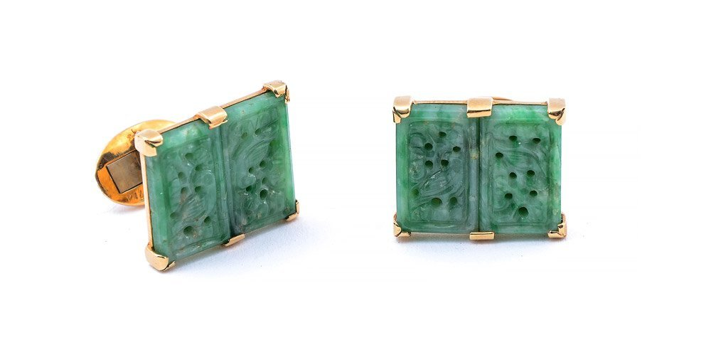 18K GOLD & CARVED JADE CUFF LINKS