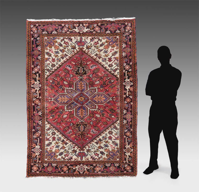 """PERSIAN HERIZ HAND KNOTTED WOOL RUG, 5' x 6'7"""""""