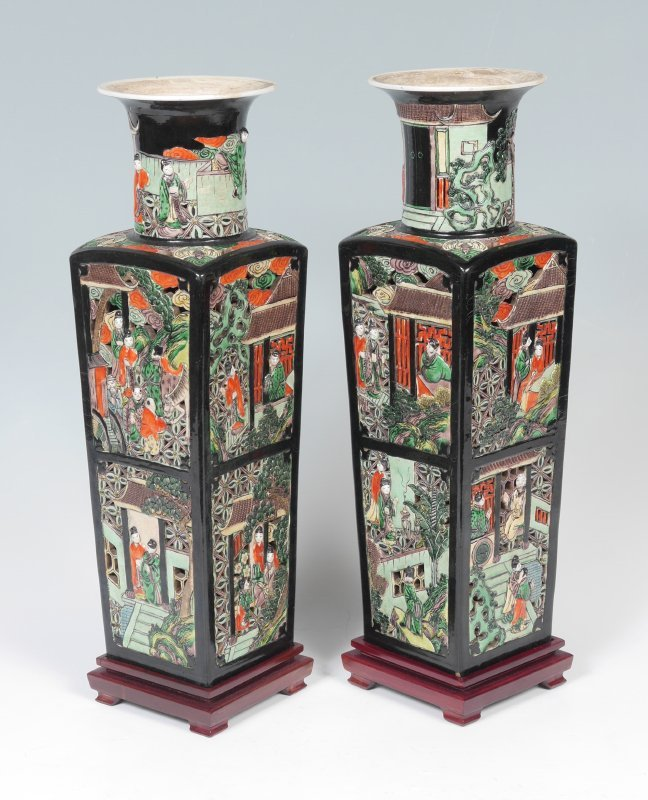 PAIR CHINESE FAMILLE NOIR RETICULATED VASES