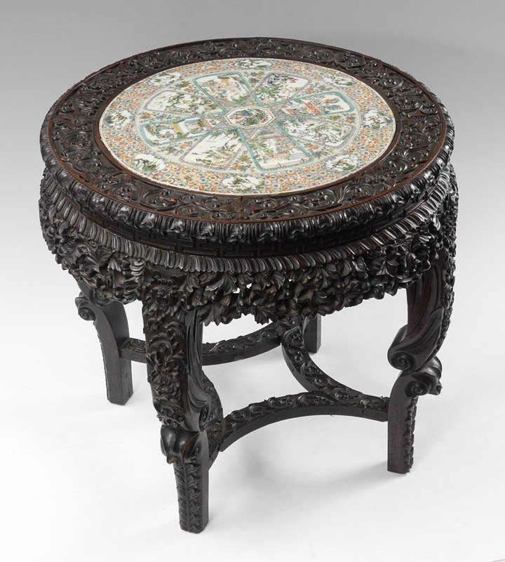 CHINESE FAMILLE VERTE INSET TILE OCCASIONAL TABLE