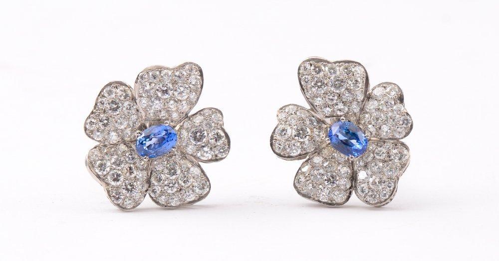 LARGE PLATINUM DIAMOND & SAPPHIRE EARRINGS