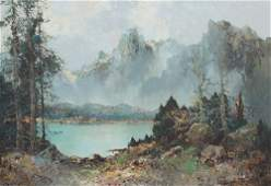 WILLI BAUER ALPINE LAKESIDE PAINTING