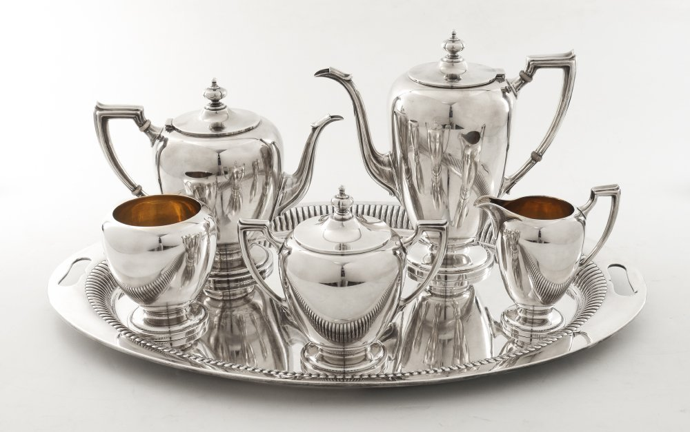 REED & BARTON POINTED ANTIQUE STERLING TEA SERVICE