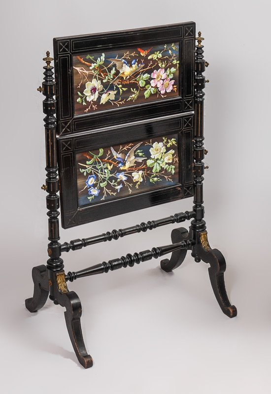 VICTORIAN PAINT DECORATED FIRE SCREEN