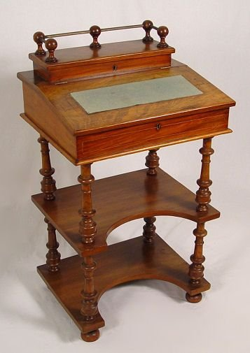 1012: VICTORIAN WALNUT LIFT TOP WRITING DESK