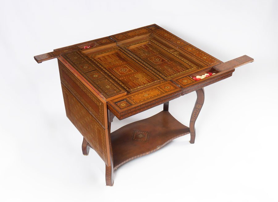 VICTORIAN MOTHER OF PEARL INLAID GAME TABLE