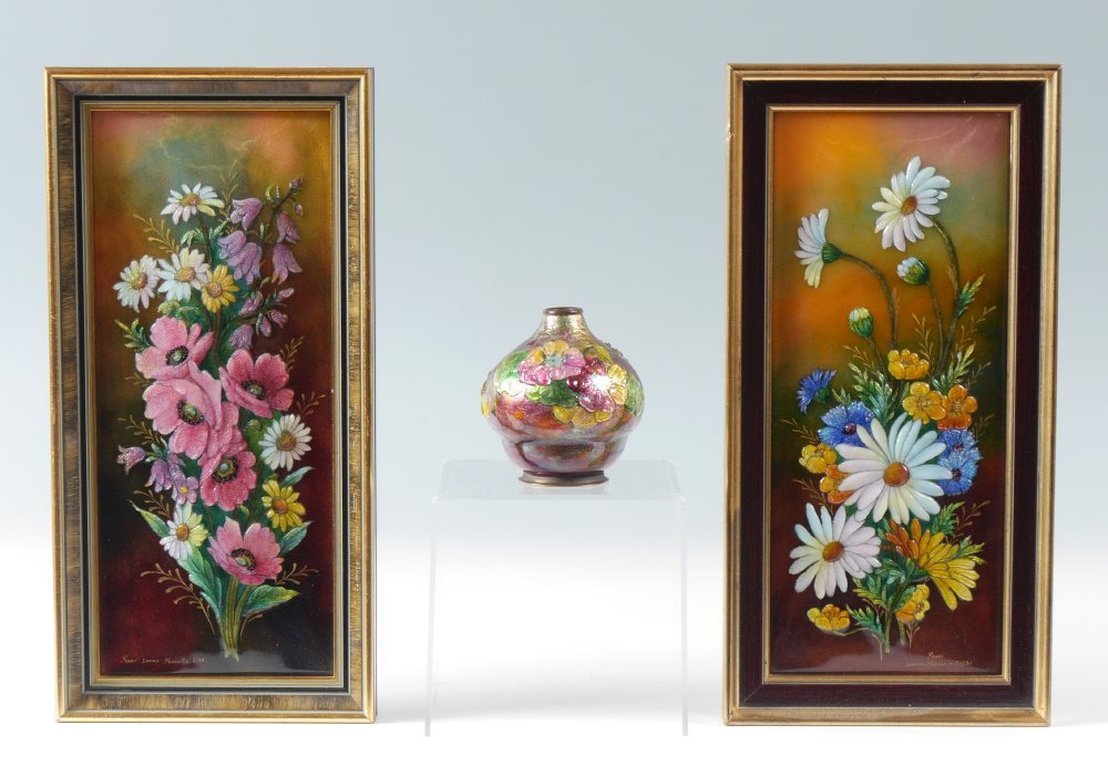 3 PIECE CAMILLE FAURE FRENCH ENAMEL ON COPPER