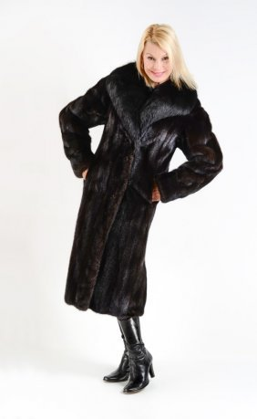 Black Mink And Fox Fur Coat
