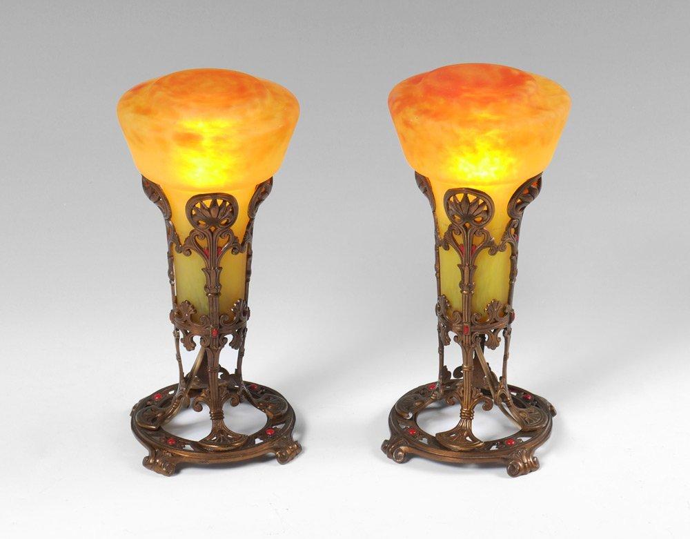 PAIR SCHNEIDER ART GLASS SHADE TABLE LAMPS