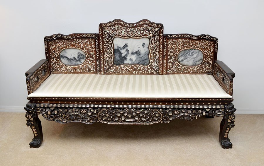 CHINESE CARVED ROSEWOOD, MARBLE & MOP OPIUM BED