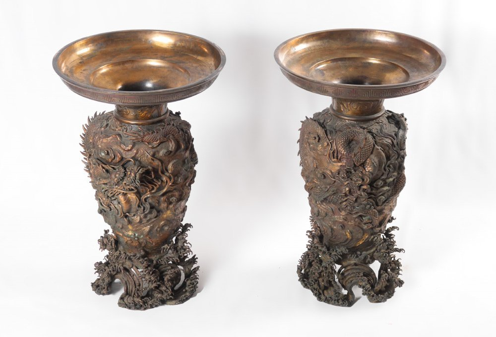 PAIR BRONZE PALACE VASES WITH ONYX TOPS