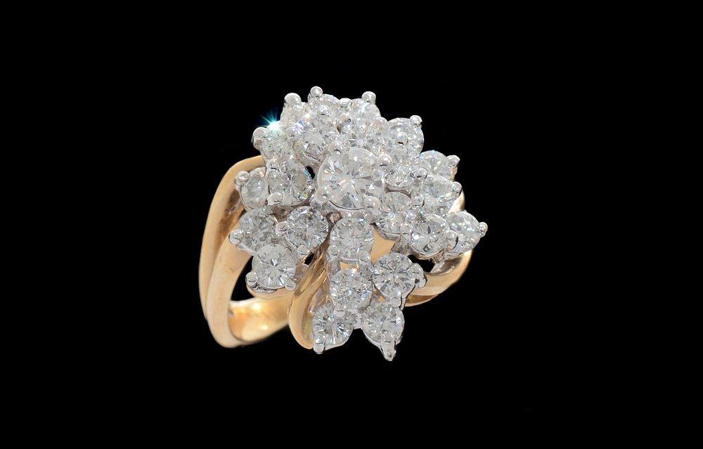 14K GOLD 2.91 CT DIAMOND PRINCESS RING SIZE 7